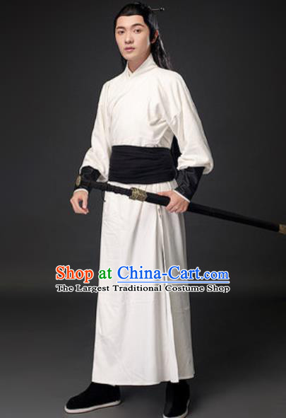 Chinese Ancient Swordsman White Clothing Traditional Three Kingdoms Period Sun Quan Costumes for Men