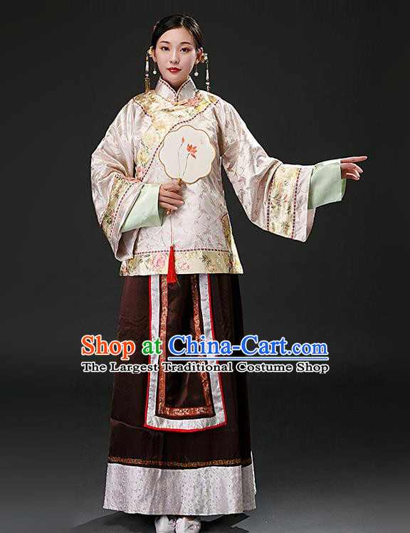 Chinese Ancient Qing Dynasty Nobility Lady Pink Blouse and Brown Skirt Traditional Patrician Mistress Costumes for Women