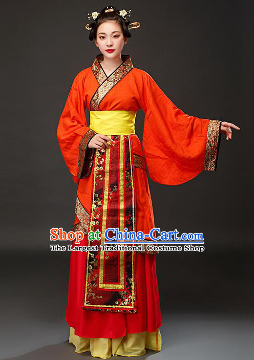 Chinese Traditional Spring and Autumn Period Maidservant Red Dress Ancient Court Maid Costumes for Women