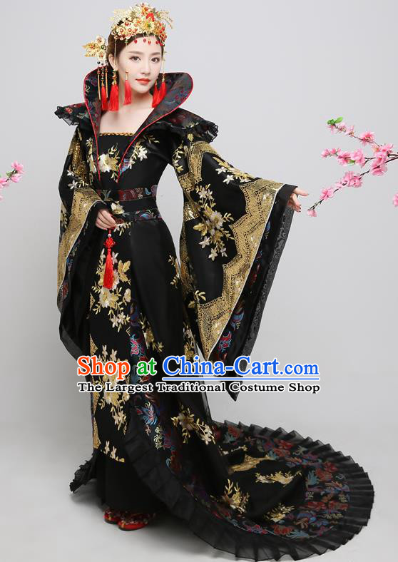 Chinese Ancient Tang Dynasty Imperial Consort Black Dress Traditional Hanfu Goddess Classical Dance Costumes for Women