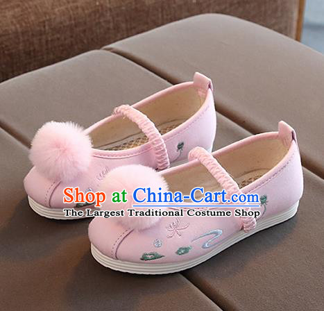 Chinese Handmade Pink Embroidered Shoes Traditional New Year Hanfu Shoes National Shoes for Kids