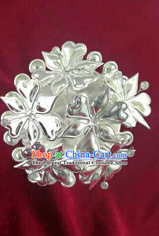 Chinese Traditional Handmade Miao Nationality Silver Flowers Hairpins Ethnic Wedding Hair Accessories for Women