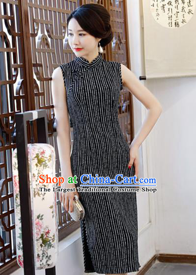 Chinese Traditional Qipao Dress Black Cotton Cheongsam National Costume for Women