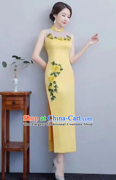 Chinese Traditional Long Qipao Dress Embroidered Yellow Cheongsam National Costume for Women