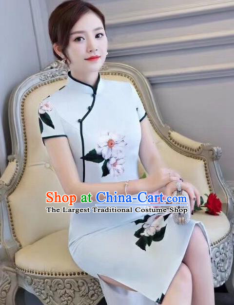 Chinese Traditional Short Qipao Dress Light Blue Cheongsam National Costume for Women