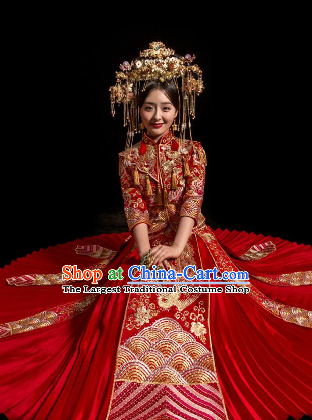 Chinese Traditional Wedding Toast Costumes Embroidered Phoenix Xiuhe Suit Ancient Bride Full Dress for Women