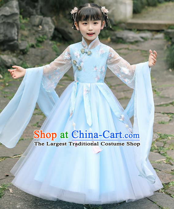 Chinese Traditional Tang Suit Blue Qipao Dress Apparels Ancient Girl Costumes Stage Show Cheongsam for Kids
