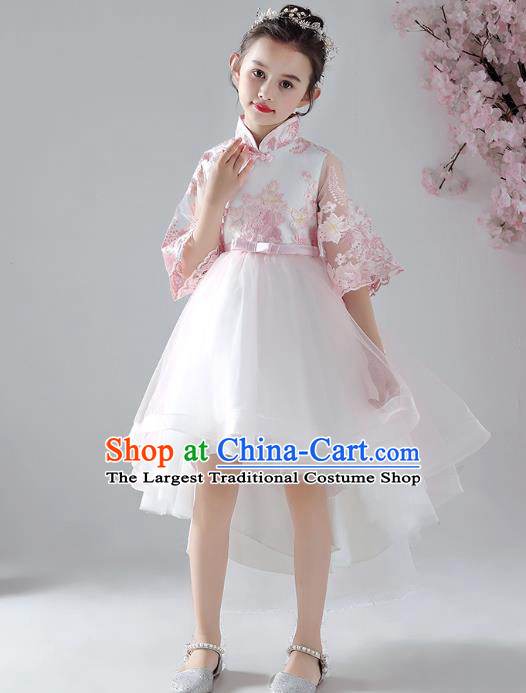 Chinese Traditional Tang Suit Bubble Qipao Dress Girl Costumes Stage Show Veil Cheongsam Apparels for Kids