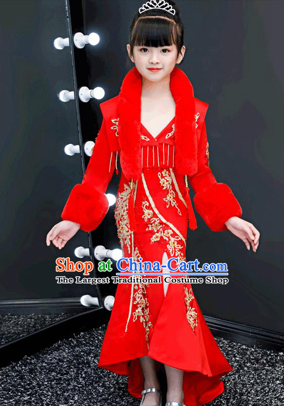 Chinese Traditional Tang Suit Winter Red Qipao Dress Girl Costumes Stage Show Cheongsam Apparels for Kids