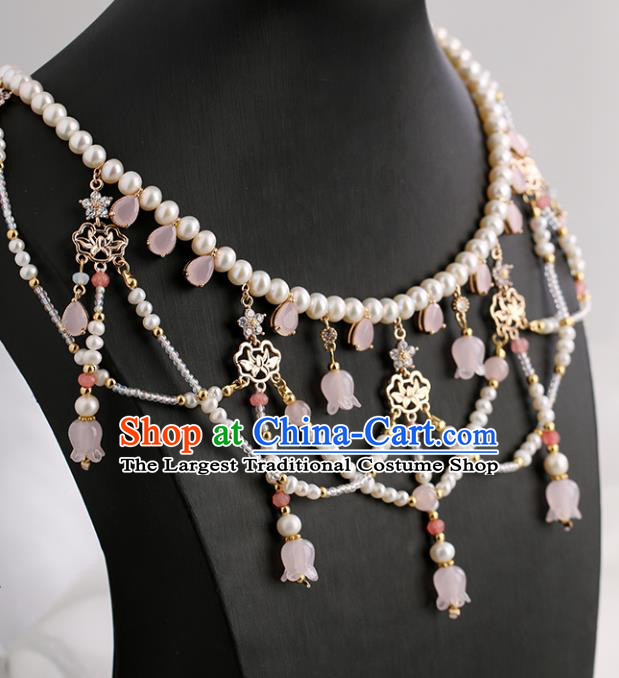 Chinese Handmade Pink Convallaria Necklet Classical Jewelry Accessories Ancient Ming Dynasty Princess Hanfu Pearls Necklace for Women