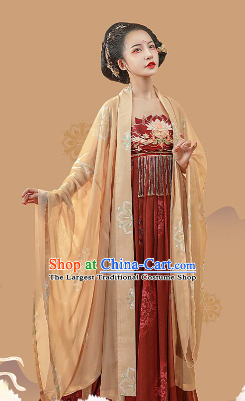 Ancient Chinese Tang Dynasty Court Woman Dress Traditional Hanfu Apparels Embroidered Historical Costumes Full Set