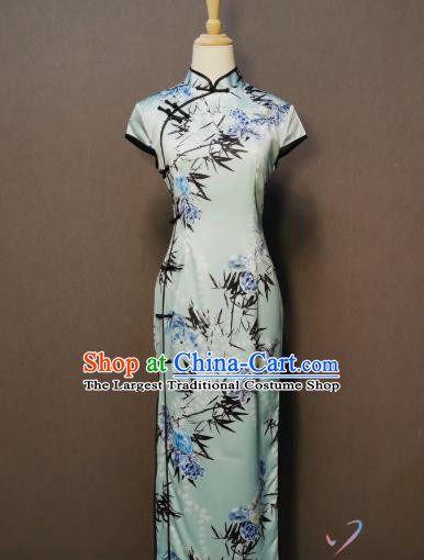 China Printing Bamboo Qipao Dress Shanghai Traditional Long Style Cheongsam Classical Catwalks Clothing
