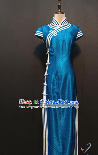 Custom Drama Women Royalblue Silk Qipao Dress Stage Performance Clothing Republic of China Classical Cheongsam