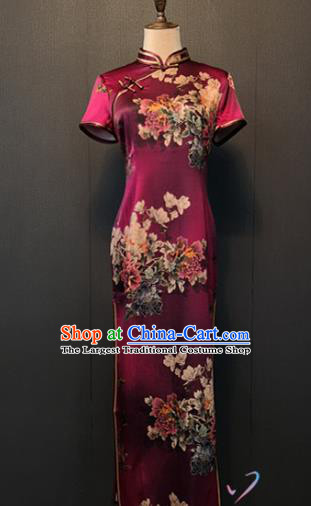 Shanghai Printing Peony Purple Silk Cheongsam Custom Classical Qipao Dress Republic of China Women Clothing
