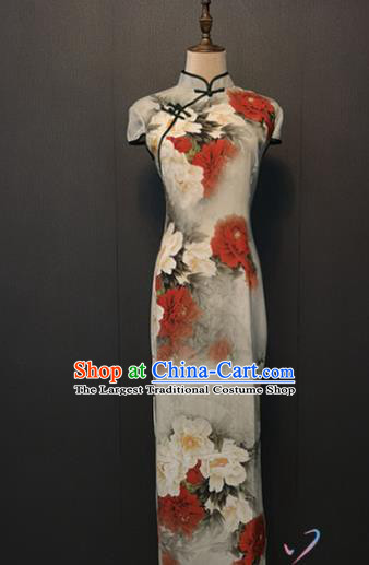 Custom Classical Qipao Dress Republic of China Women Clothing Shanghai Printing Peony White Silk Cheongsam