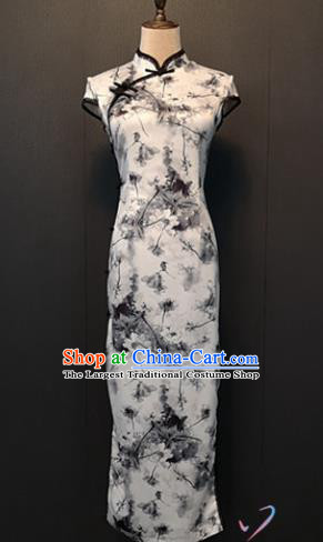 Custom Ink Painting White Silk Cheongsam Republic of China Women Clothing Shanghai Classical Qipao Dress