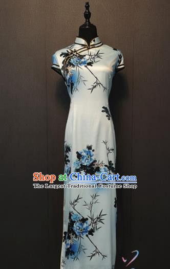 Republic of China Women Clothing Shanghai Classical Qipao Dress Custom Ink Painting Peony Bamboo Silk Cheongsam