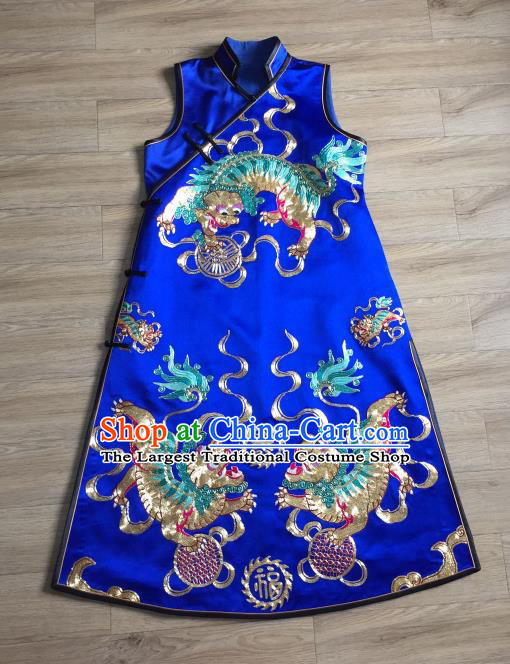 China Embroidered Kylin Royalblue Silk Qipao Dress Vest Cheongsam Women National Clothing