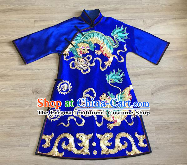 China Embroidered Lion Royalblue Silk Qipao Dress Women National Clothing Tang Suit Cheongsam