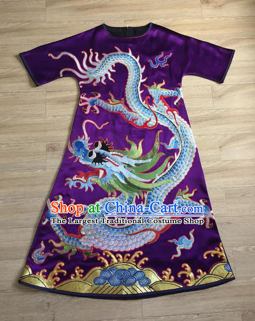 China Tang Suit Cheongsam Women National Clothing Embroidered Dragon Purple Silk Qipao Dress