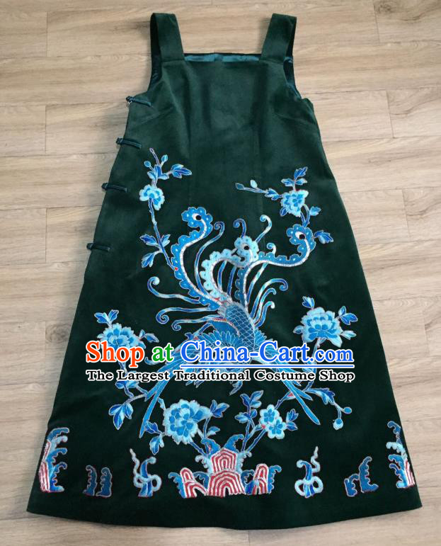 China Embroidered Phoenix Deep Green Silk Qipao Dress Women National Clothing Tang Suit Vest Suspenders Cheongsam