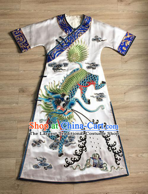 China Women National Clothing Tang Suit Cheongsam Embroidered Kylin White Silk Qipao Dress