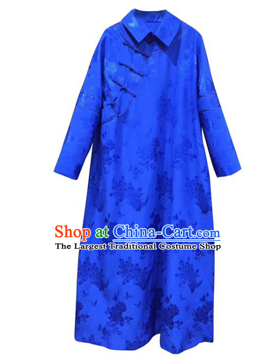 China Tang Suit Women Clothing Classical Rose Pattern Cheongsam Royalblue Silk Qipao Dress Costume