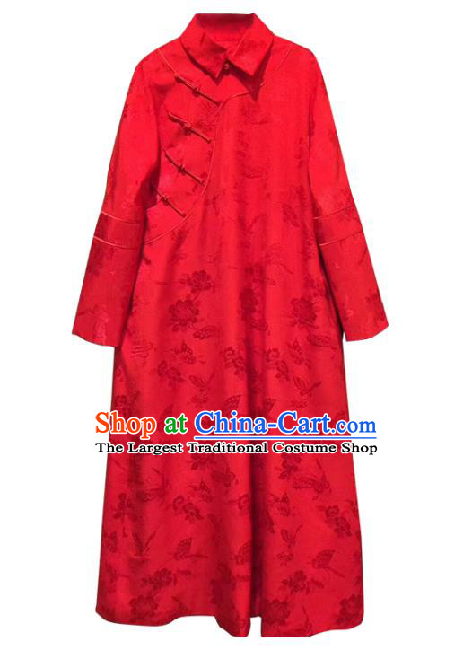 China Classical Rose Pattern Cheongsam Red Silk Qipao Dress Costume Tang Suit Women Clothing
