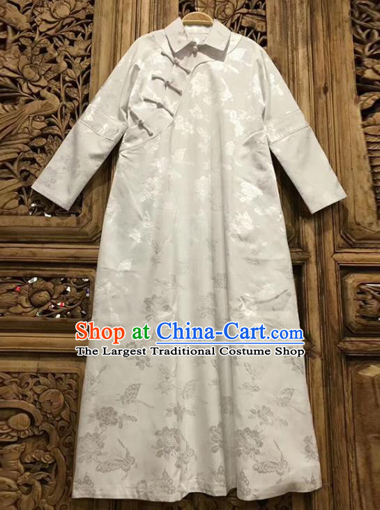China Qipao Dress Costume Tang Suit Women Clothing Classical Peony Butterfly Pattern White Silk Cheongsam