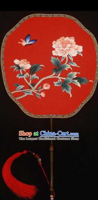 Top Grade Chinese Cheongsam Show Embroidered Fans Suzhou Embroidery Palace Fan Double Sides Silk Fan