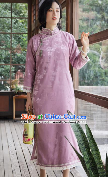 China Classical Lilac Silk Lace Cheongsam Traditional National Female Clothing Women Qipao Dress