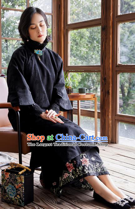 China Classical Black Cotton Wadded Cheongsam Traditional National Female Clothing Women Silk Qipao Dress