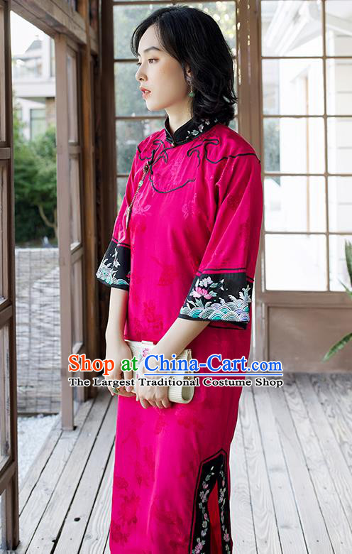 China Embroidered Magenta Silk Qipao Women Classical Long Cheongsam Traditional Dress Clothing