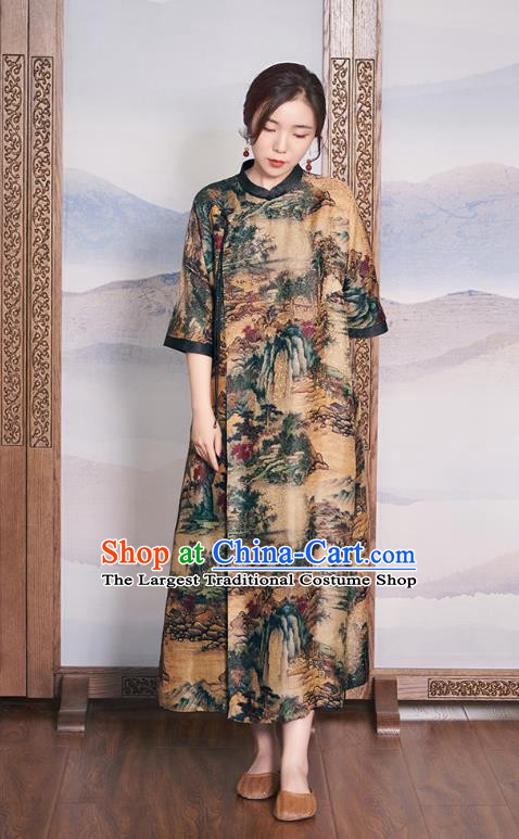 China Women Ginger Silk Cheongsam National Clothing Traditional Classical Printing Qipao Dress