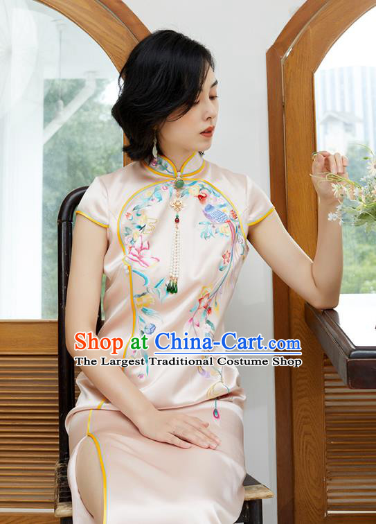 China National Women Clothing Traditional Classical Qipao Dress Embroidered Phoenix Pink Silk Cheongsam