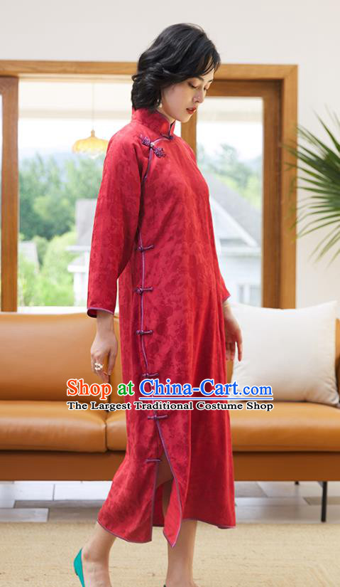 Republic of China Classical Qipao Dress National Women Clothing Traditional Red Long Cheongsam