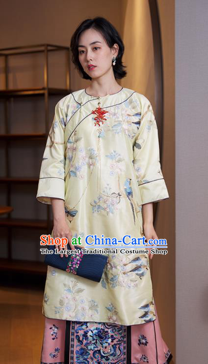 China Traditional Embroidered Light Yellow Cheongsam National Women Clothing Classical Silk Qipao Dress