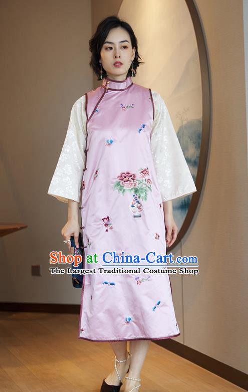China Traditional Embroidered Sleeveless Cheongsam National Women Clothing Classical Pink Silk Qipao Dress