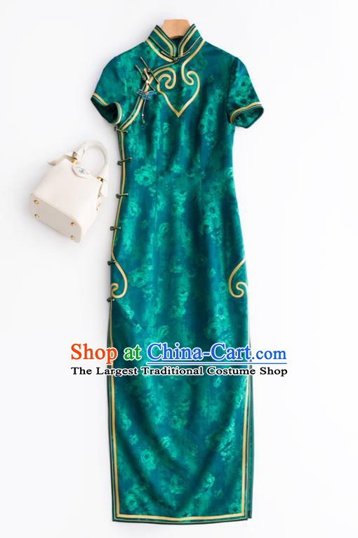 China National Women Clothing Traditional Green Silk Long Cheongsam Classical Printing Qipao Dress