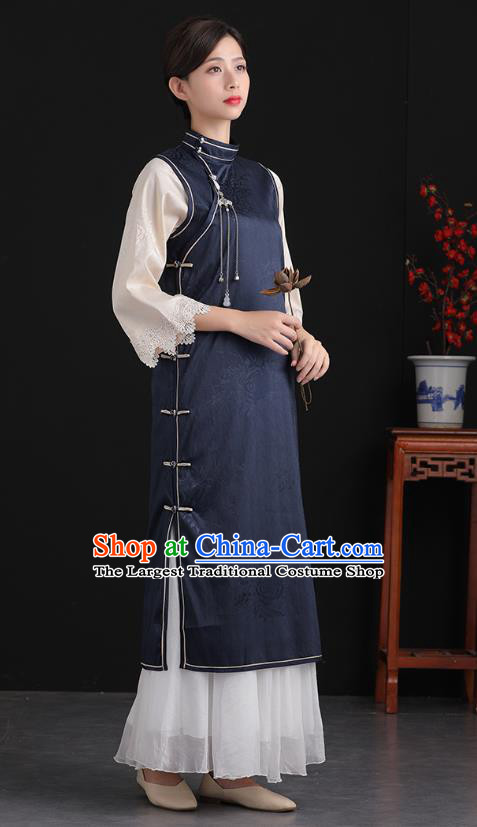 China Tang Suit National Qipao Clothing Traditional Women Classical Dress Navy Silk Cheongsam