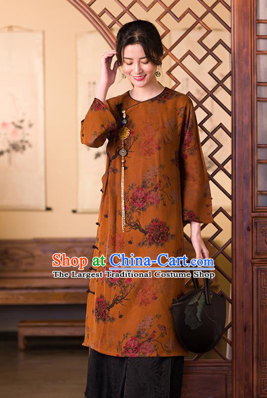 China Traditional Classical Peony Pattern Cheongsam Women Clothing Ginger Silk Qipao Dress