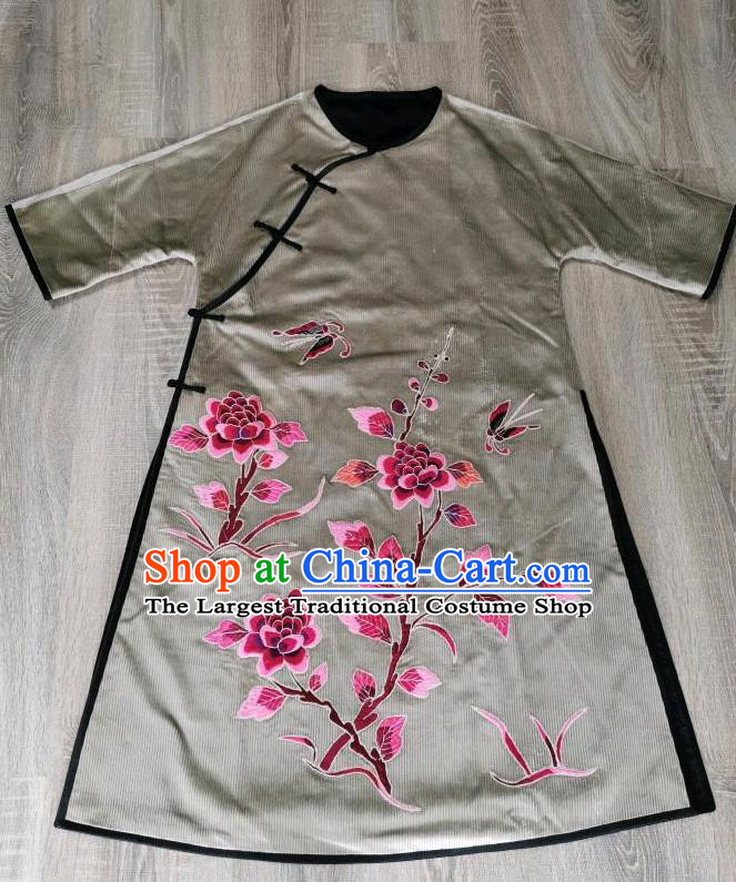 Chinese Embroidered Peony Cheongsam Traditional Embroidery Grey Corduroy Qipao Dress National Clothing
