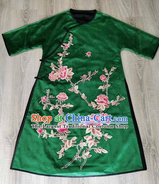 Chinese National Clothing Embroidered Rose Cheongsam Traditional Embroidery Deep Green Corduroy Qipao Dress