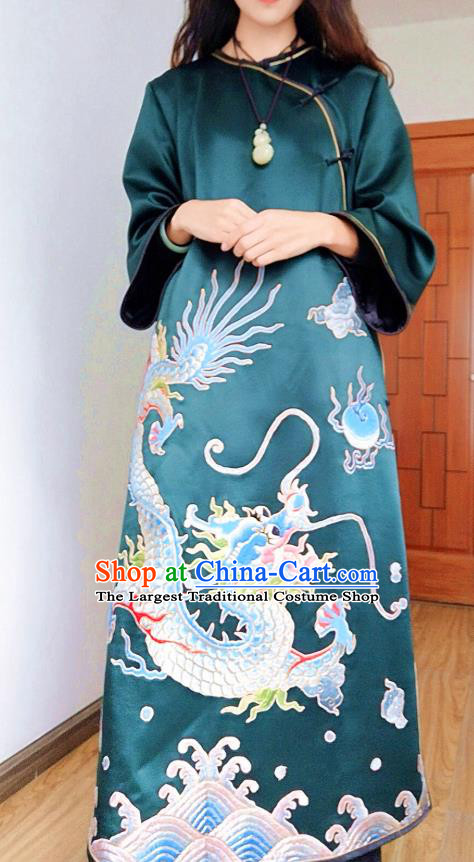 Chinese Embroidered Deep Green Silk Qipao Dress Traditional Women National Cheongsam Clothing