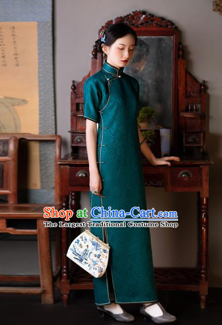 Republic of China Traditional Peacock Green Silk Qipao Dress Asian Classical Cheongsam National Retro Costume