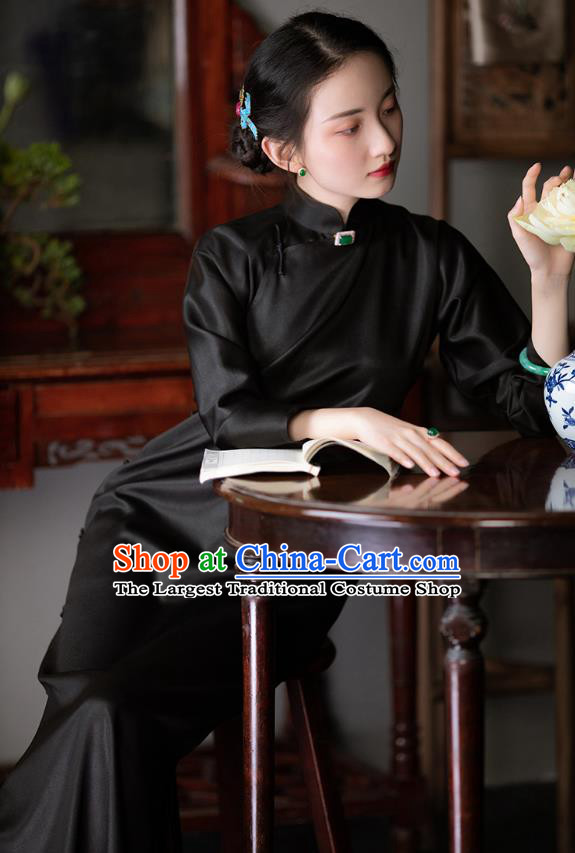 Chinese Traditional Classical Black Silk Qipao Dress National Women Costume Long Sleeve Cheongsam