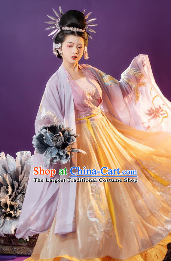 Traditional China Song Dynasty Imperial Concubine Clothing Ancient Palace Woman Embroidered Hanfu Dress Apparels