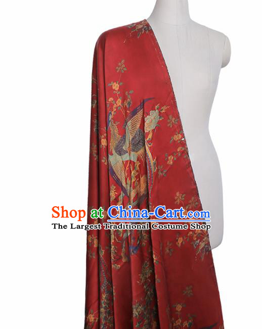 Chinese Classical Peacock Flowers Pattern Design Red Mulberry Silk Fabric Asian Traditional Cheongsam Silk Material