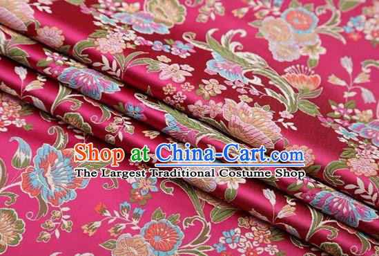 Chinese Classical Flourish Flowers Pattern Design Rosy Brocade Fabric Asian Traditional Satin Silk Material