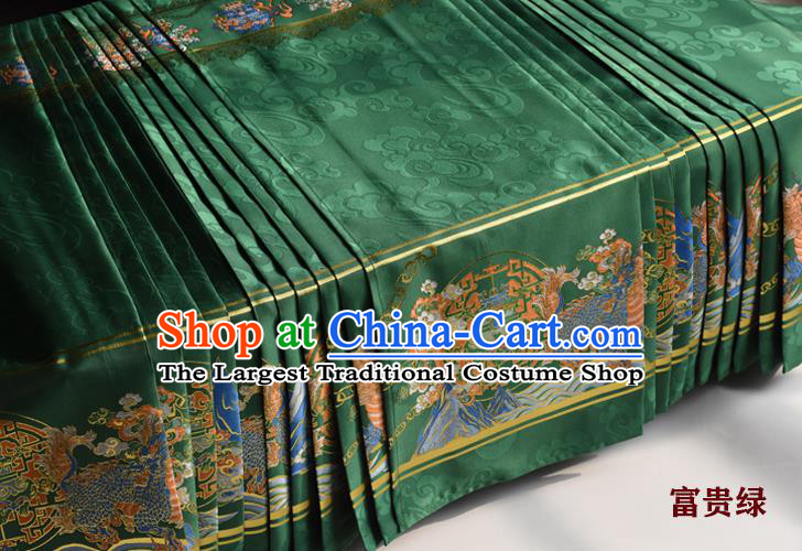 Chinese Ancient Princess Green Brocade Horse Face Skirt Traditional Ming Dynasty Court Lady Costumes for Women